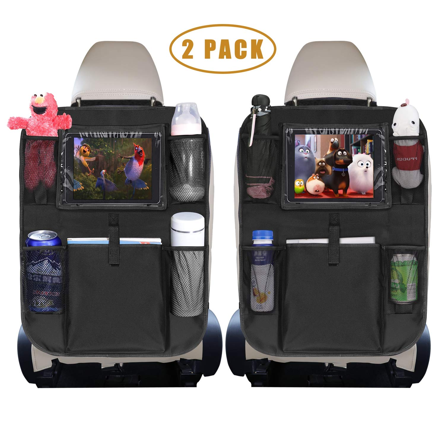 Backseat Car Organizer, Car Seat Back Protector Kick Mats with Clear 10'' Tablet Holder + 5 Storage Pockets Back Seat Organizer for Kids Toy Bottle Drink Vehicles Travel Accessories (2 Pack) by Hailyyea