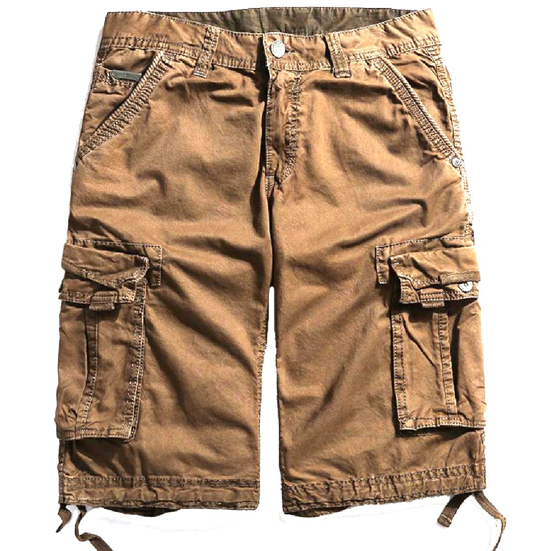 Comfy-Men Oversized Fine Cotton Multi-Pockets Outdoor Cargo Shorts Coffee 35