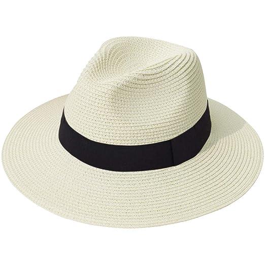 d0d524d08 Lanzom Women Wide Brim Straw Panama Roll up Hat Fedora Beach Sun Hat UPF50+