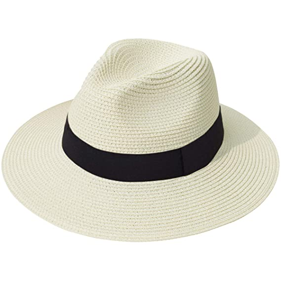 5b9cd0bad Lanzom Women Wide Brim Straw Panama Roll up Hat Fedora Beach Sun Hat UPF50+