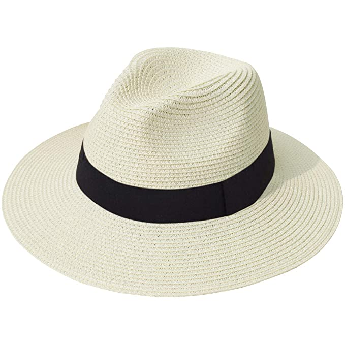 c7a66340 Lanzom Women Wide Brim Straw Panama Roll up Hat Fedora Beach Sun Hat UPF50+  (A