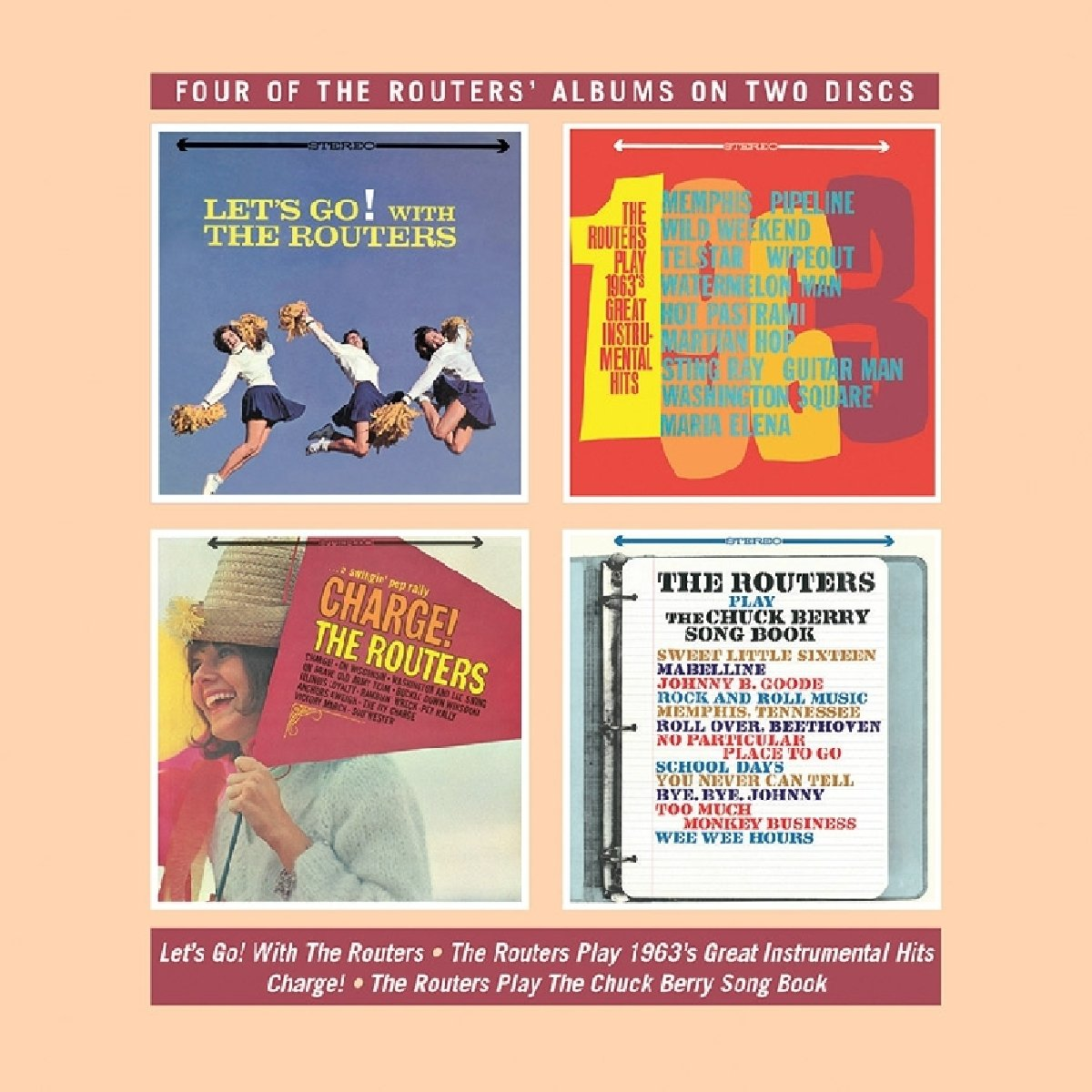 CD : Routers - Let's Go / Play 1963's Great Instrumental Hits / Charge / Play TheChuck Berry Song Book (United Kingdom - Import, 2 Disc)