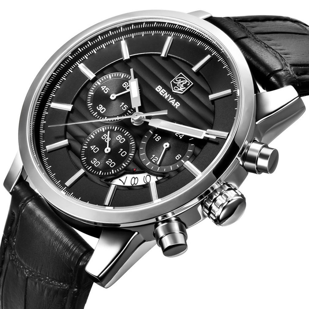BENYAR Chronograph Waterproof Watches Business and Sport Design Brown Leather Band Strap Wrist Watch for Men (L Silver Black B)