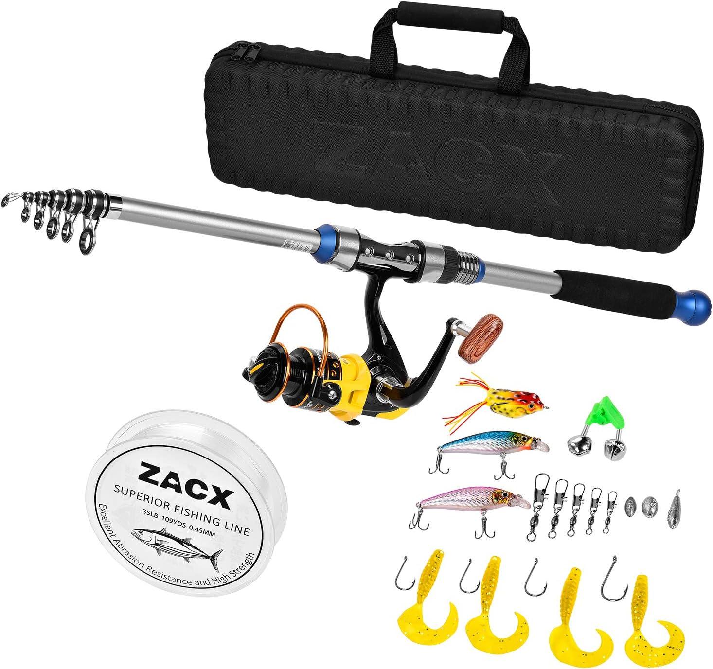 AZHOKTD Juego completo de ca/ña de pescar telesc/ópica port/átil y carrete de pesca con kit completo para pesca en agua salada y agua dulce