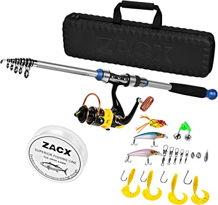 Amazon Com Zacx Telescopic Fishing Rod And Reel Combos Full Kits Spinning Fishing Gear Pole Sets With Line Lures Hooks And Premium Portable Case For Sea Saltwater Freshwater Fishing Gifts For Men