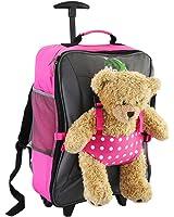 Cabin Max Bear, trolley da viaggio per bambini, con cinghie esterne per bambole/peluche (Rosa Spotty)