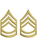 Polished Sergeant First Class Insignia Set - 22K Gold Plated- 1 Pair