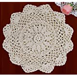 "Creative Linens 6PCS 10"" Round Crochet Lace Doily Beige 100% Cotton Handmade, Set of 6 Pieces by Creative Linens"