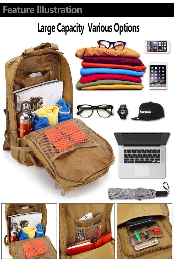 Acazon Backpack Shoulders Bag 3P 30L Oxford Cloth Outdoor Waterproof Tactical Backpack Shoulders Bag US Stock