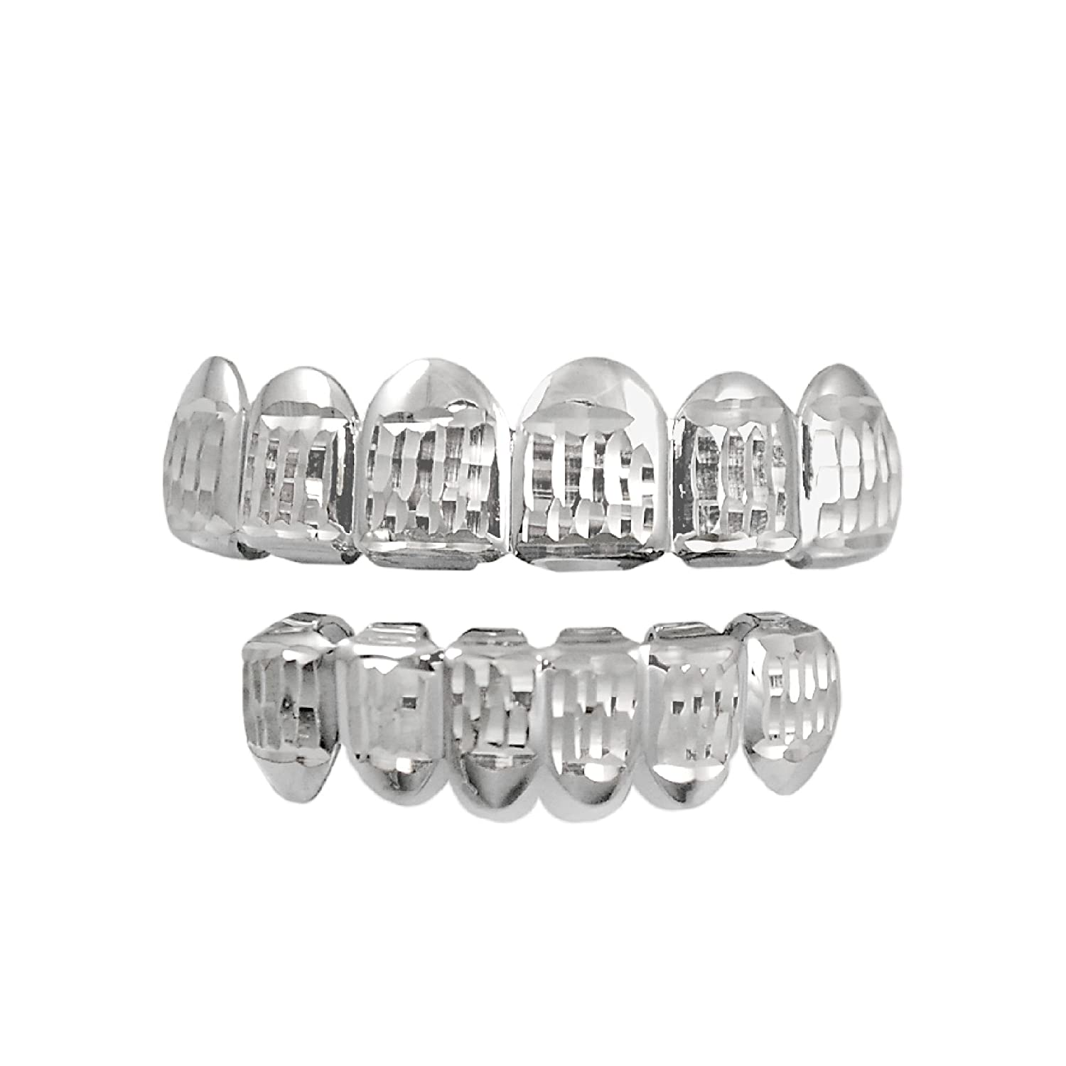 Silver-Tone Hip Hop Bling Vertical Diamond Cut 6 Pc Top and Bottom Grillz Grill Set iRockBling 5234796