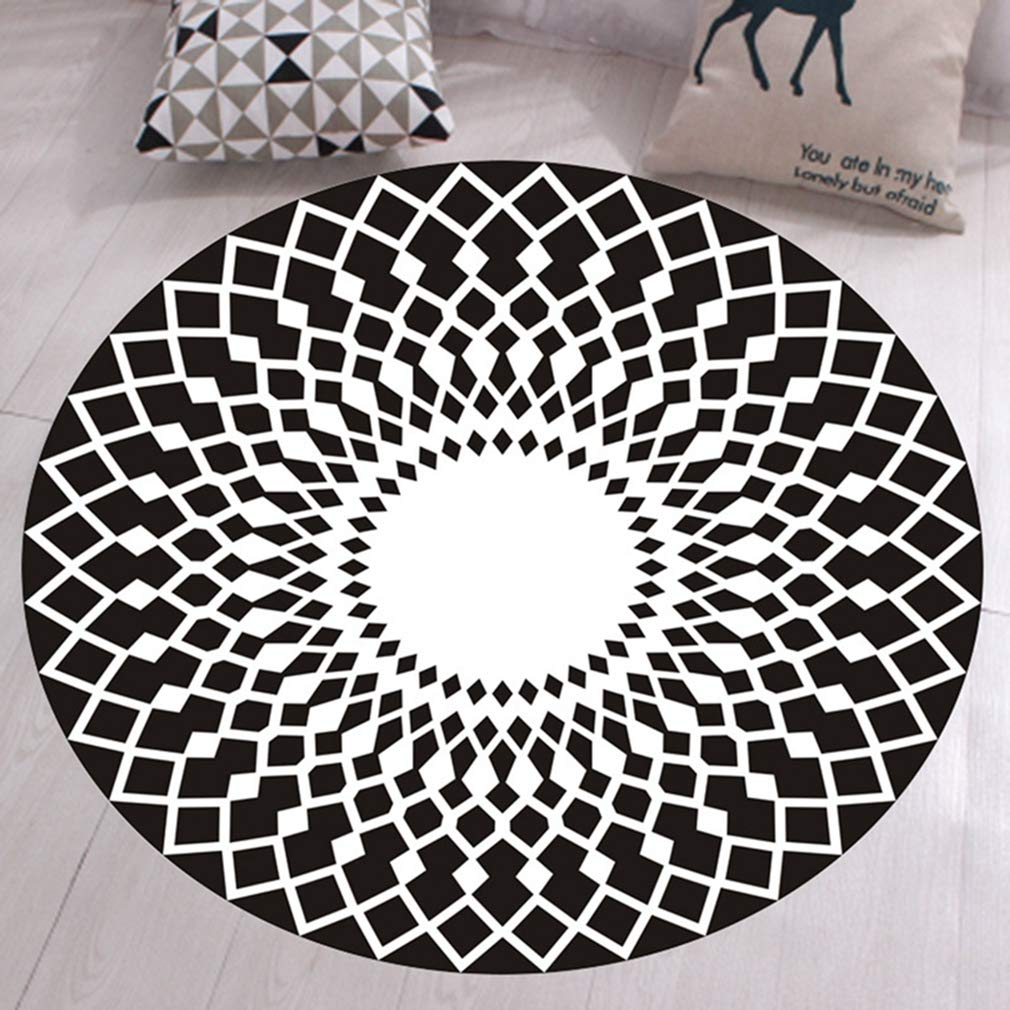 GIY Round Geometric Area Rugs Living Room Carpet Bathroom Mats Children Bedroom Rug Home Decorate Fashion Non-Slip Modern Circular Runners 2' X 2'