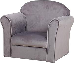 Single Velvet Kids Sofa Chair/Upholstered Toddler Mini Sofa Couch/Baby Furniture Gift for Boys & Girls (Gray)