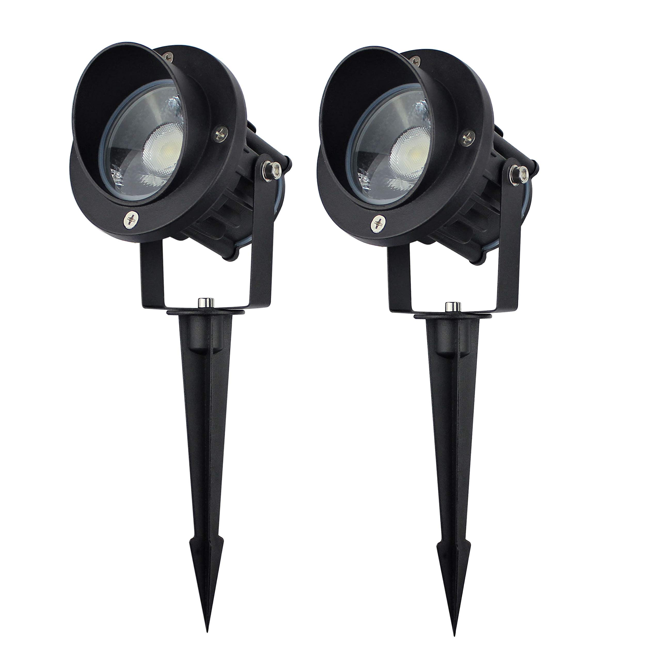 J.LUMI GBS9809 LED Outdoor Spotlight with Stake, 9W 120VAC, 5000K Daylight White, Metal Stake, Flag Light, Landscape Spotlight, UL-Listed Cord with Plug, Not Dimmable (Pack of 2) by J.LUMI
