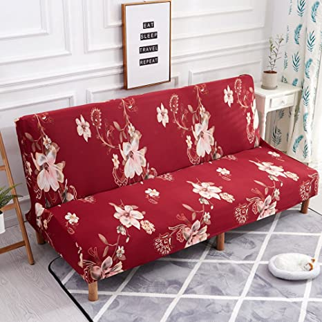 SHZONS Floral Sofa Cover, Stretch Sofa Bed Slipcover Protector,Elastic  Spandex Folding Armless Couch