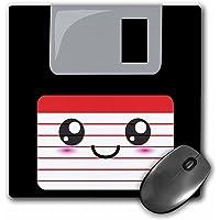 """3dRose Kawaii Happy Floppy Disk–Anime japonés Smiley Cartoon Mouse, 8"""" x 8"""" (mp 57455_ 1)"""