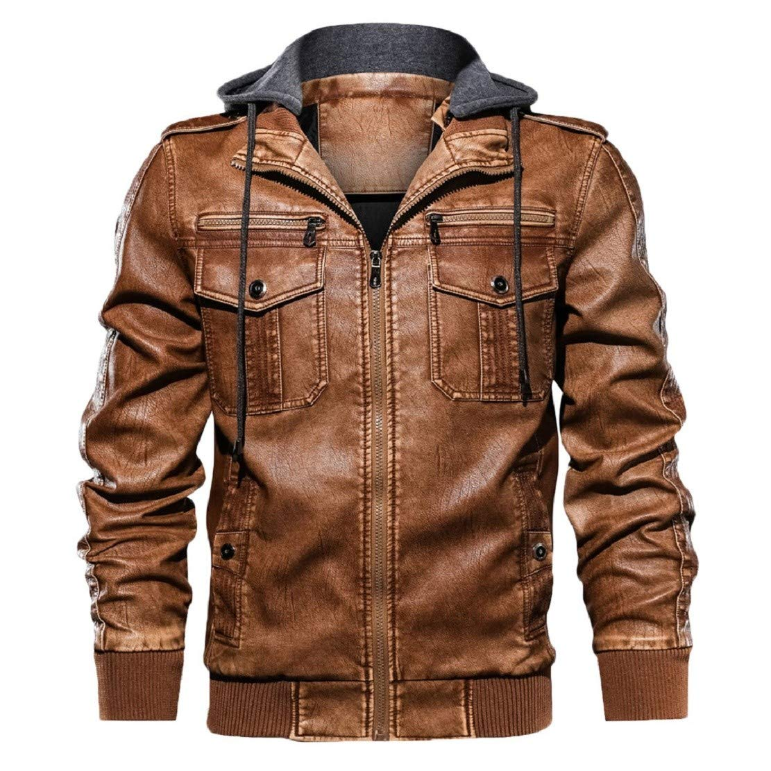 LowProfile Men's Vintage Retro Classic Loose Fit Hoodie Bomber Jacket Faux Leather Zip Motor Jacket with Pocket Brown