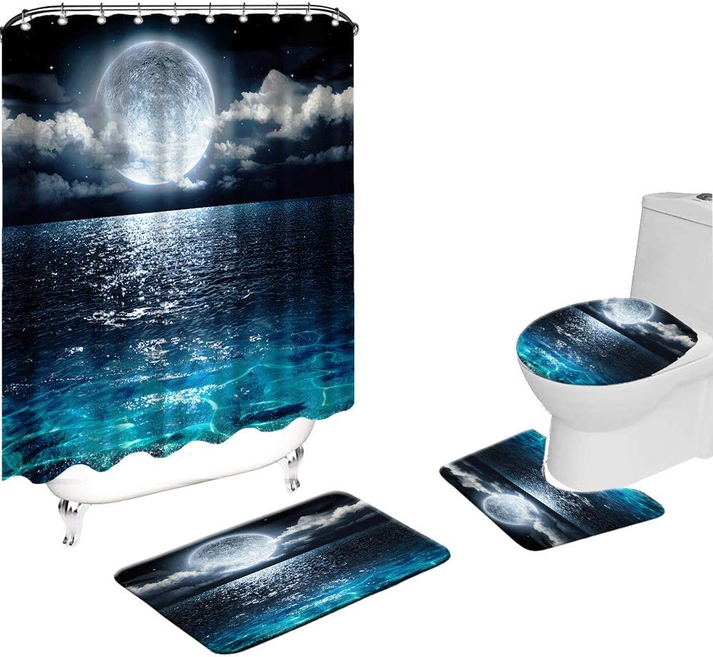 VividHome 4PCS Shower Curtain Sets with Non-Slip Rugs, Full Moon Over Ocean Landscape Polyester Shower Curtain with 12 Hooks, Bathroom Mats Set, Toilet Lid Cover and Bath Mat