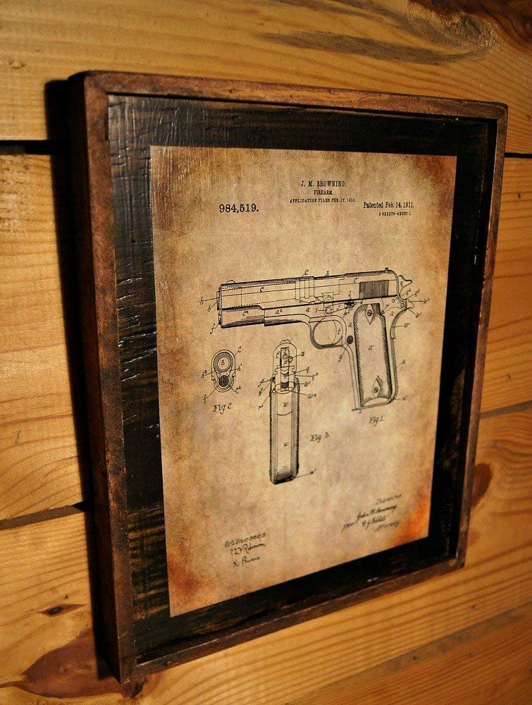 Framed Vintage Browning 1911 Original Patent Drawing - Wooden Sign