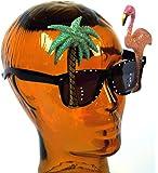 Pink Flamingo / Palm Tree Glasses Specs for Hawaiian Tropical Animal Fancy Dress Glasses
