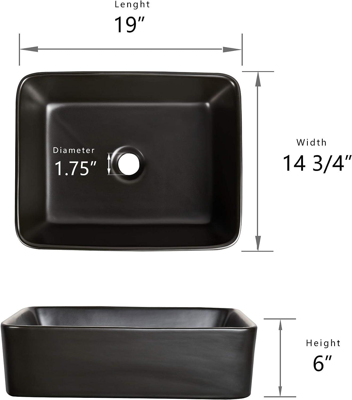 DV-2V031 Bathroom Vessel Sink 19 Inch Above Counter Rectangular ...