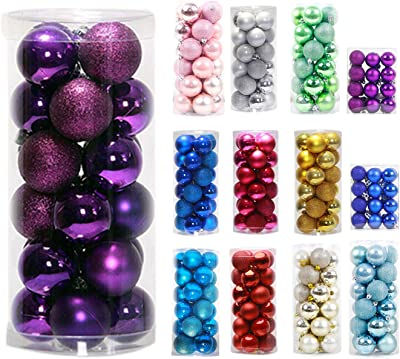 """Christmas Decoration-24ct Ornaments Ball Multicolor Christmas Tree Balls for Holiday Wedding Party Decoration,2.36"""",Purple"""