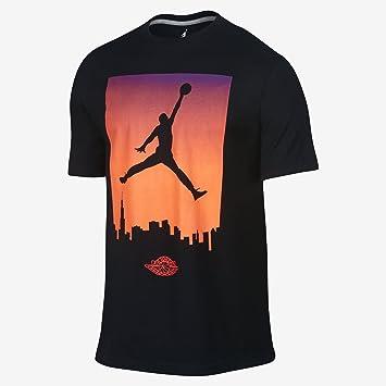 90cfd7389dd Nike Men's Air Jordan 1 Skyline Tee Shirt Black/Total Crimson 616533-013 (
