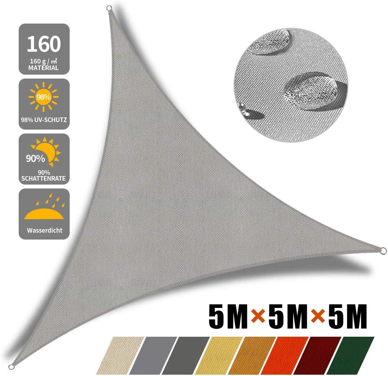 JYYnet Vela Ombreggiante Vela Parasole Triangolare Tenda a Vela Impermeabile Protezione Raggi UV Vela Tenda per Giardino Terrazza Campeggio 2/×2/×2m, Beige