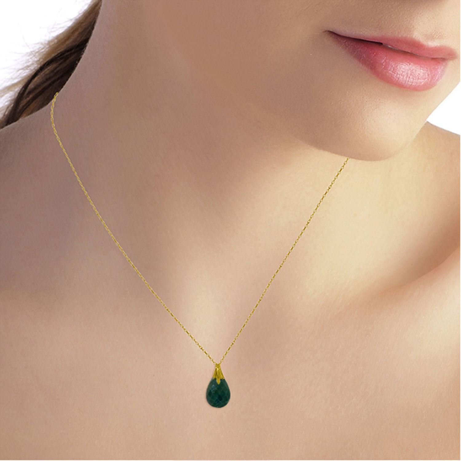 ALARRI 14K Solid Gold Necklace w// Natural Diamondyed Green Sapphire with 18 Inch Chain Length