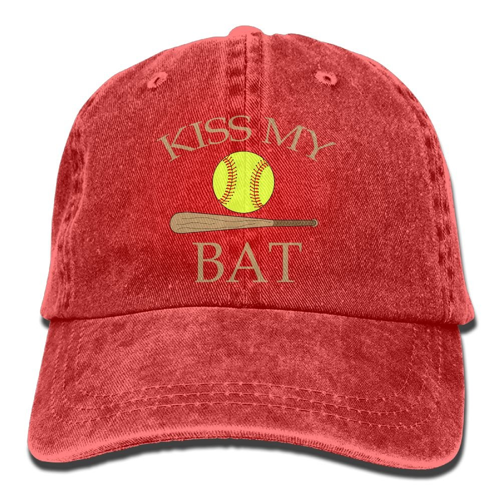 Hat Kiss My Bat Softball Denim Skull Cap Cowboy Cowgirl Sport Hats For Men Women Huayaa