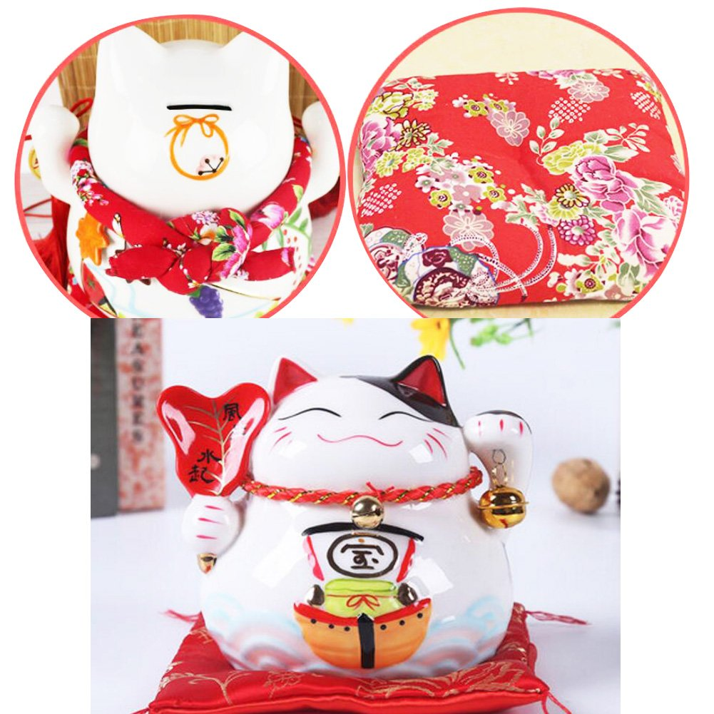 4.5 Maneki Neko Japanese Porcelain Lucky Cat Money Box Piggy Bank Lucky Blessing #B