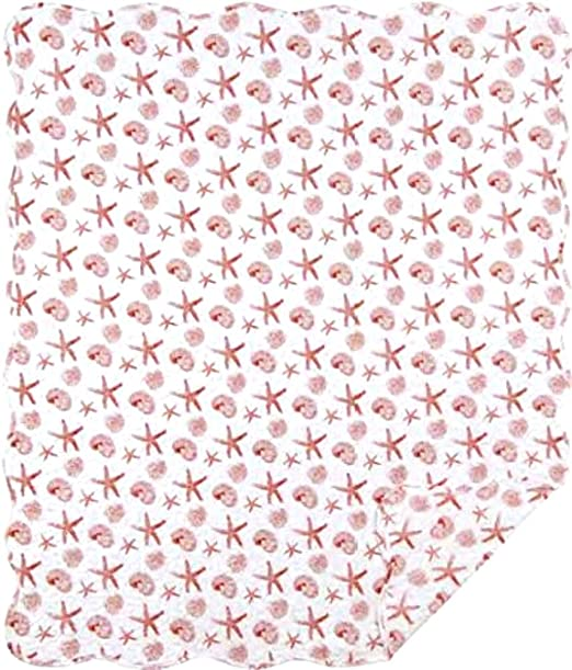 Christmas Tablescape Decor - Coral starfish and seashells throw blanket quilt by C&F