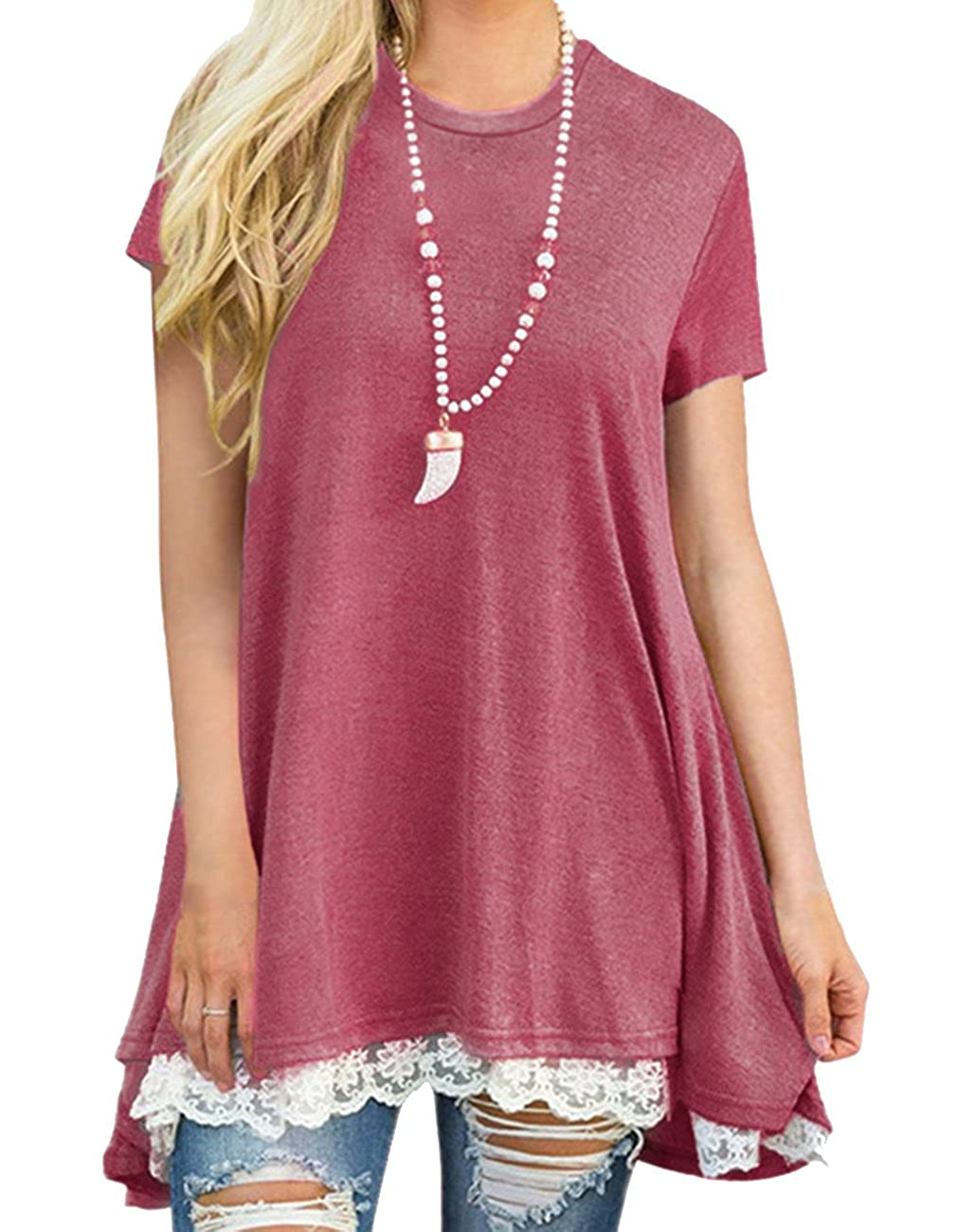 Wine Red Defal Womens Summer Short Sleeve Lace Splicing Blouse High Low Hem Casual Tunic Top