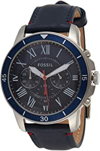 Fossil Men'S Blue Dial Leather Band Watch Fs5373, Analog