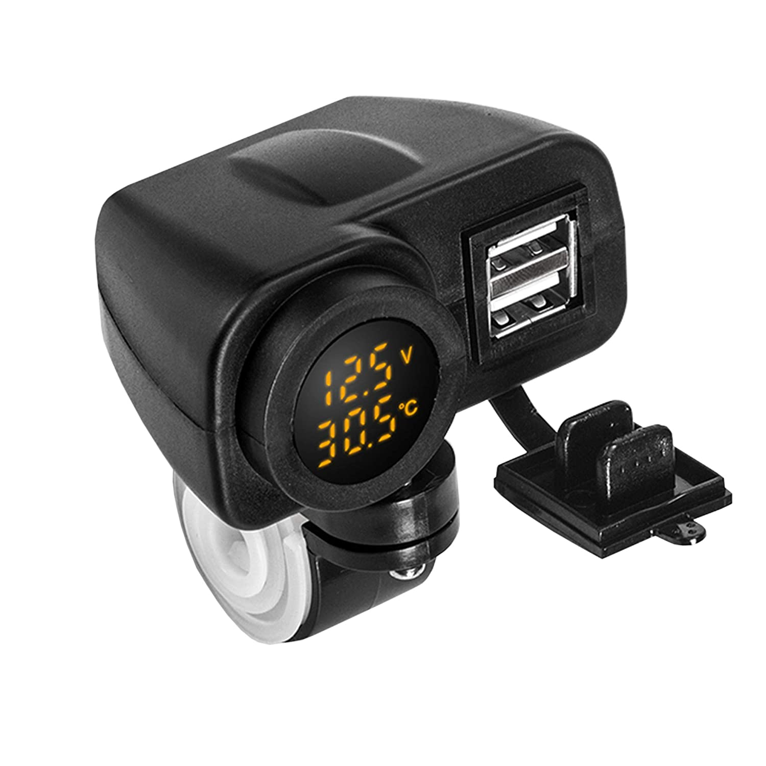 Motorcycle/ATV/Scooters DC 5V 4.2A Dual USB Charger with LED Voltmeter Thermometer for Phone iztor