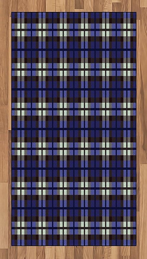 Lunarable Alfombra de Color Azul Marino, diseño de Falda Escocesa ...