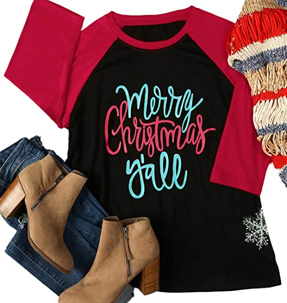 Merry Christmas Letter Y.Alltb Merry Christmas Y All Baseball T Shirt Womens 3 4 Splicing Sleeve Letters Print Holiday Top Tees
