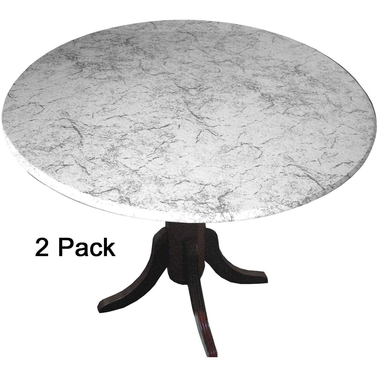 2 Pack MarbleTop Fitted Vinyl tablecloths (tablecovers, Table Covers) - Florentine Marble White