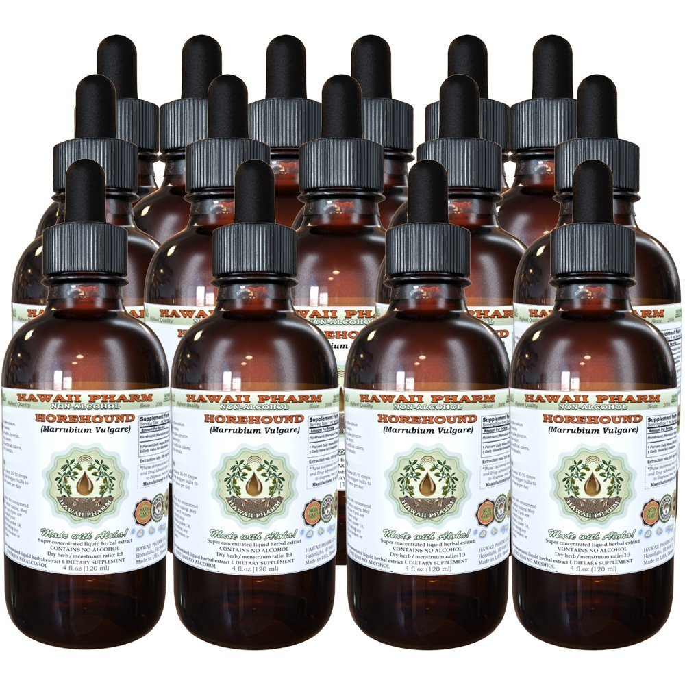 Horehound Alcohol-FREE Liquid Extract, Organic Horehound (Marrubium vulgare) Dried Herb Glycerite Hawaii Pharm Natural Herbal Supplement 15x4 oz