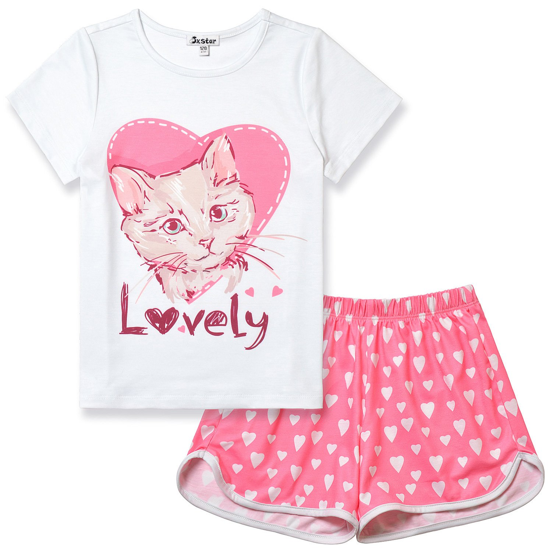 Girls Pajamas Cat Print Sleepwear Kid Cute Cotton Set Teen Summer Short Sleeves