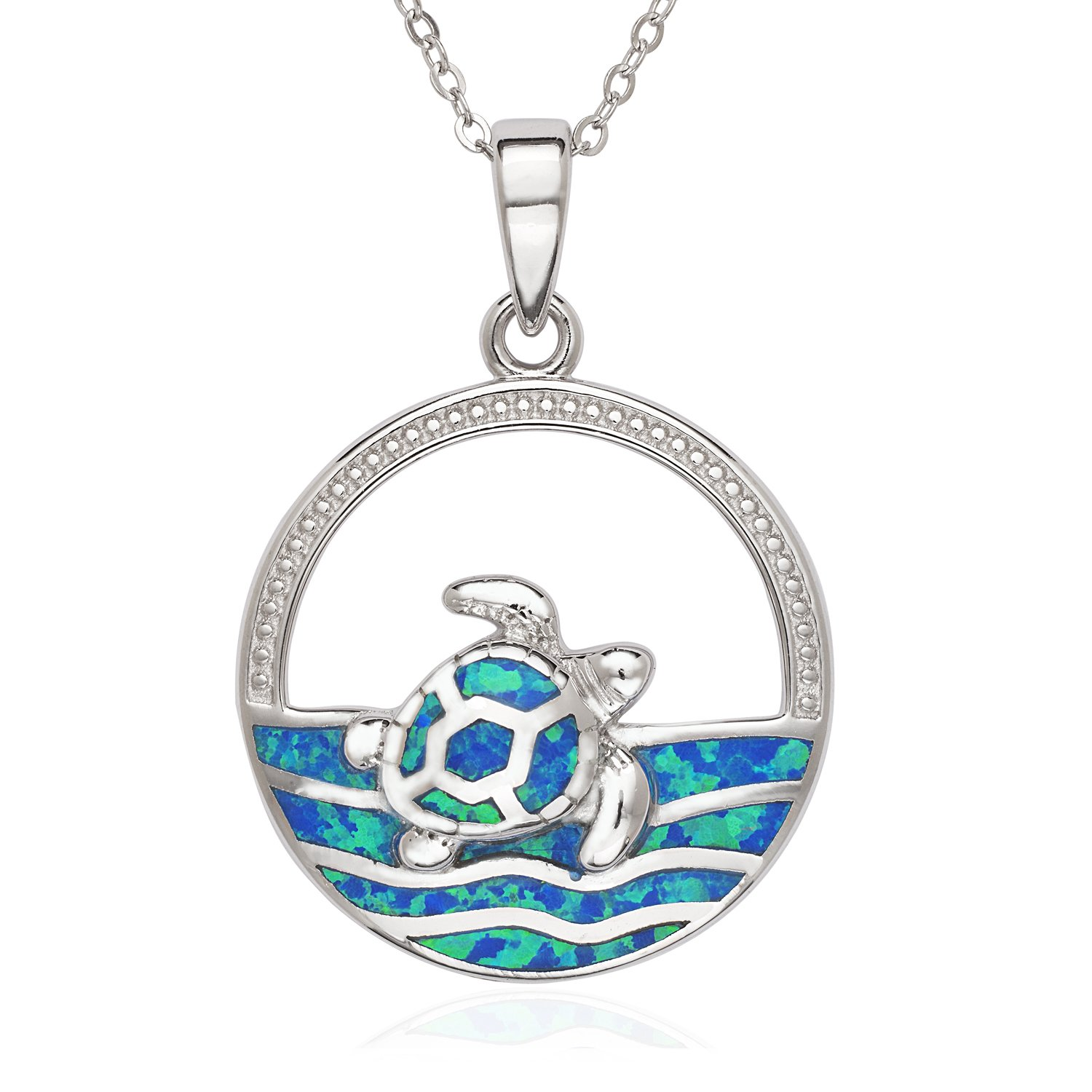 """Sterling Silver Created Blue Opal Turtle in the Sea Circle Pendant with 18"""" Chain"""