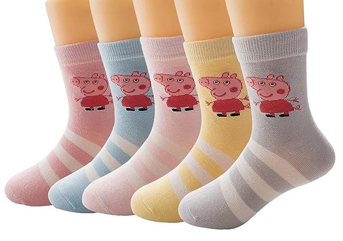 Amazon.com: 10prs Peppa Pig Calcetines de algodón para niñas ...