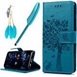 Galaxy S8 Plus Case, YOKIRIN Flip Wallet PU Leather [kickstand] [Emboss Tree] Magnetic Closure Protective Cover Skin Handbag with Card Slots Detachable Wrist Strap for Samsung Galaxy S8 Plus, Blue