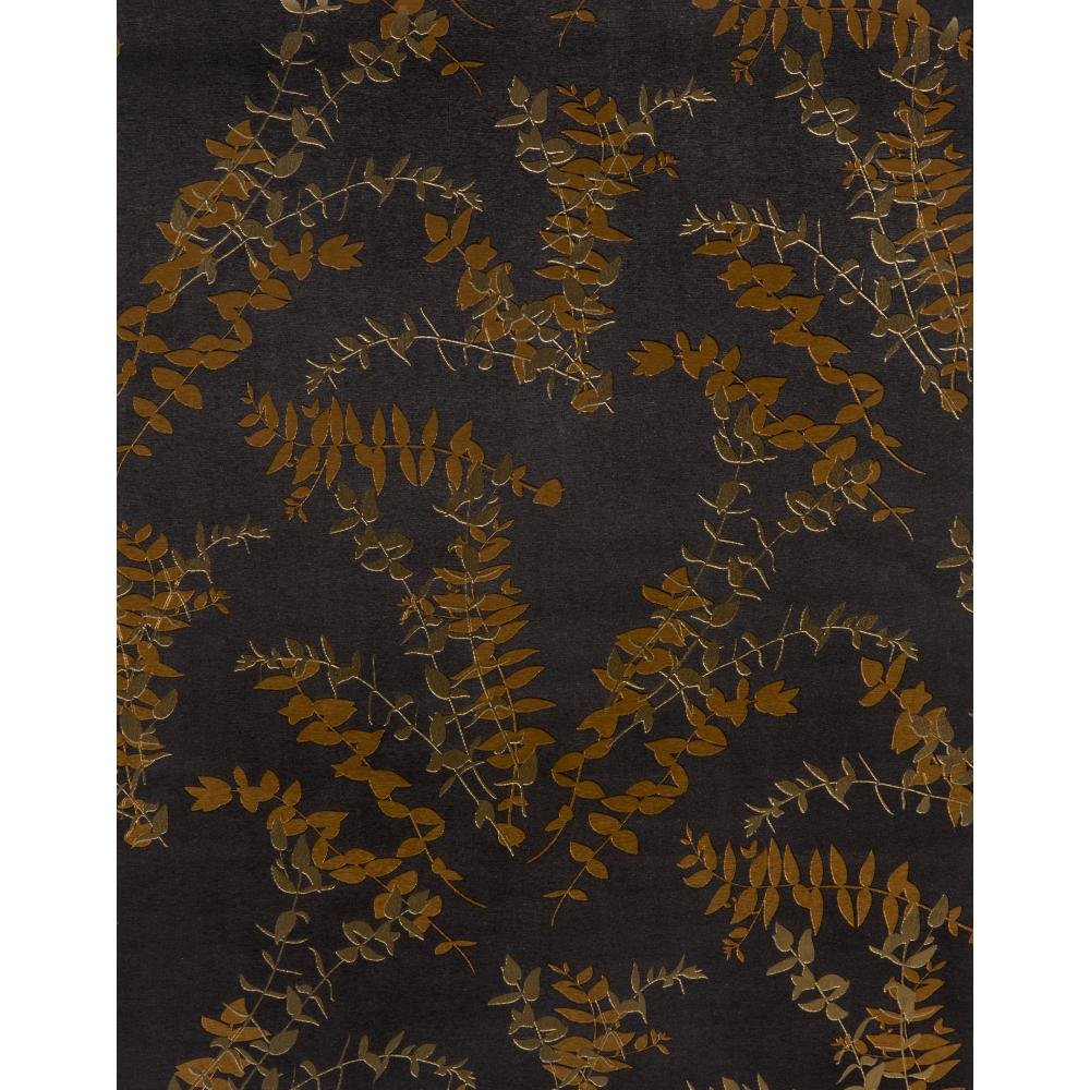 York Wallcoverings ET2021SMP Enchantment Foliage Toss Wallpaper Memo Sample, 8-Inch x 10-Inch, Black Fog, Bright Gold, Polished Bronze by York Wallcoverings