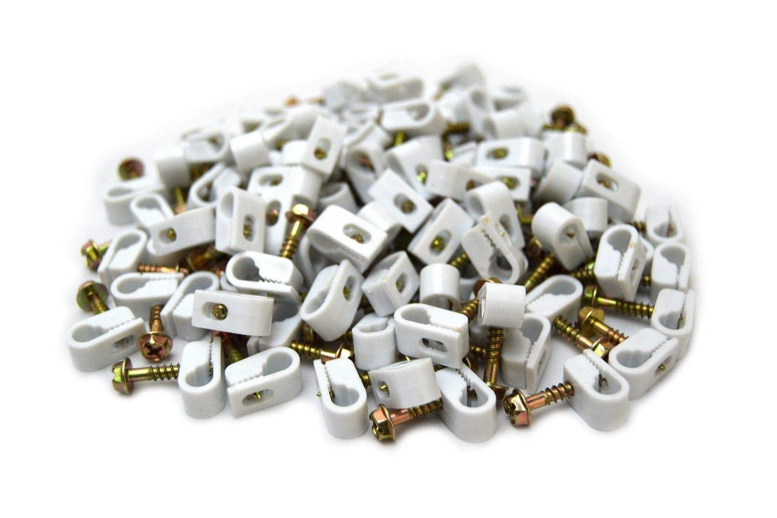 2000 White Single Flex Clips With Strain Relief Screw RG6 RG59 Coax Cable