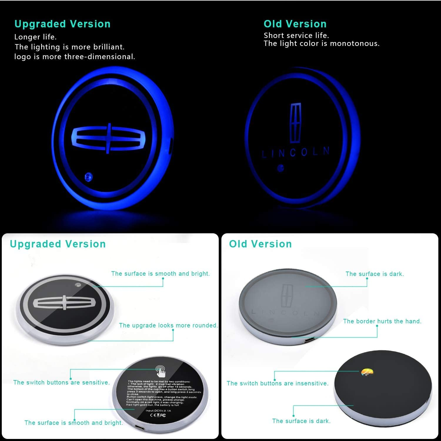 fit Su-ba-ru Upgraded Version LED Car Cup Holder Lights,LED Shiny Water Cup Mat Waterproof Bottle Drinks Coaster Built-in Light 7Colors Changing USB Charging Mat Cup Mat 2PCS Gabriel