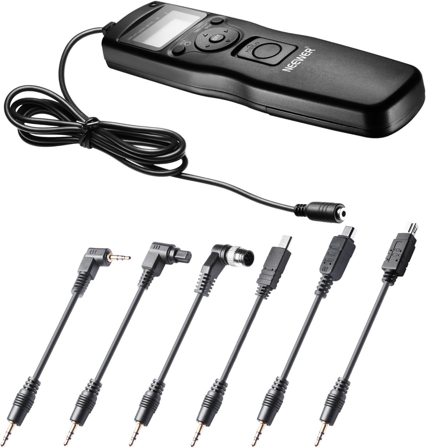Disparador temporizador 6 en 1 para Canon, de Neewer®, para modelos 700D, 650D, 550D, 60D, 5D MarkIII, 6D, 70D, 7D MarkII, Nikon D4, D300s, D700, D800, D90, D7100, D600, D5300, D610, D5100, D3200, D31