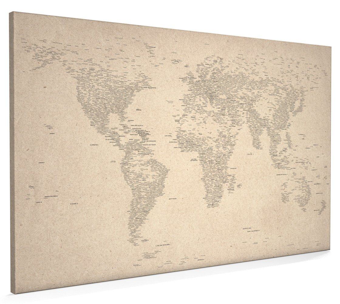 Typographic Text World Map Made From City Names Canvas Art Print