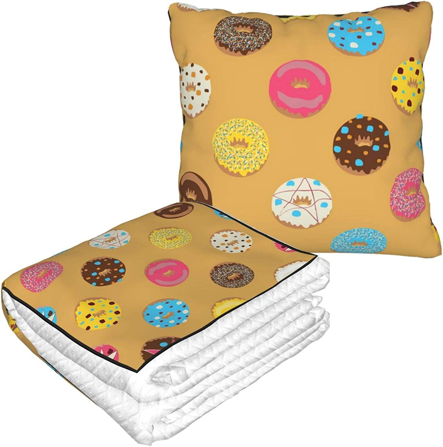 Chocolate Donuts Cartoon Cute Funny Food Travel Blanket and Pillow | Warm Soft Fleece 2-in-1 Combo Blanket for Airplane, Camping, Car Trips | Large Compact Blanket Set