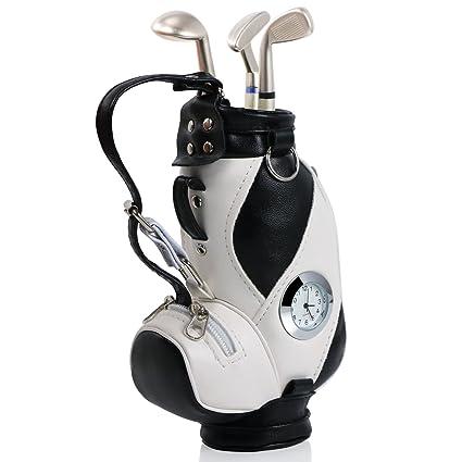 TRIXES Portalápices Forma Bolsa De Golf con Bolígrafos Palo de Golf y Reloj