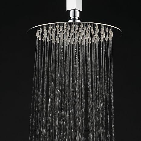 Hiendure® 20 cm Acero inoxidable lluvia ducha Ultra delgada Lluvia alcachofa de la ducha alcachofa de la ducha redonda sin Brazo de ducha, cromo